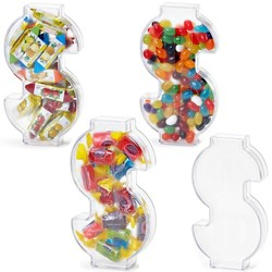 Dollar Shape Sign Plastic container with Jelly Beans