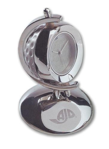 *CLOSEOUT* Silver Golf Ball Clock w/ Silver Base