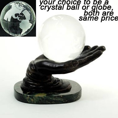 Crystal Ball or Globe on Bronzed Solid Brass hand Holder on Marble Base