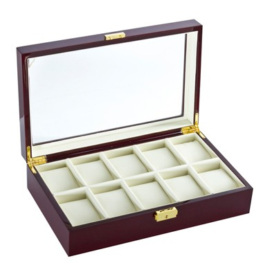 Cherry See Through 10 Watch Case - Clear Top