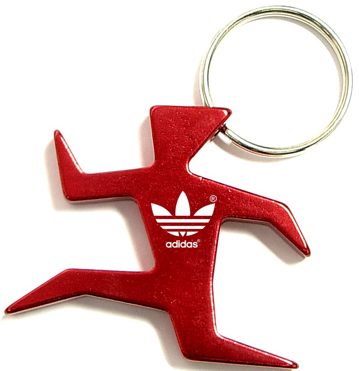 Runner shape bottle opener with key chain.