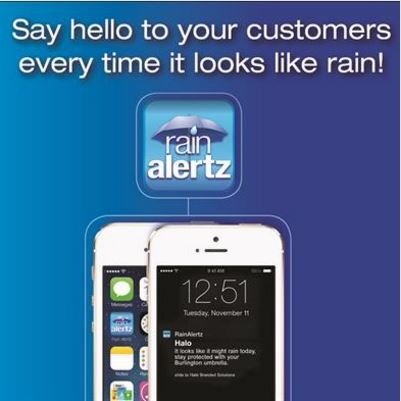 RainAlertz Umbrella App for Mobile advertising with Text notifications