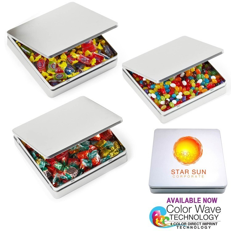 Square Hinged Large Tin Box with Hard Candy