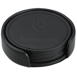 Prestige Round Leatherette Coaster Set with Matching Stand