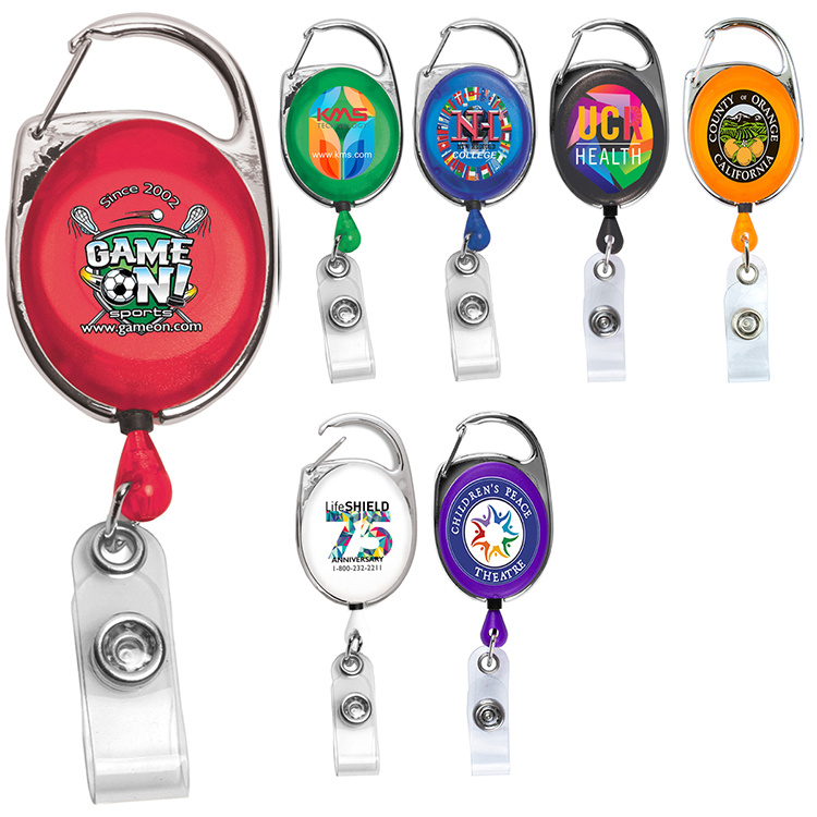 30 Cord 4 Color Process Retractable Carabiner Style Badge Reel and Badge Holder