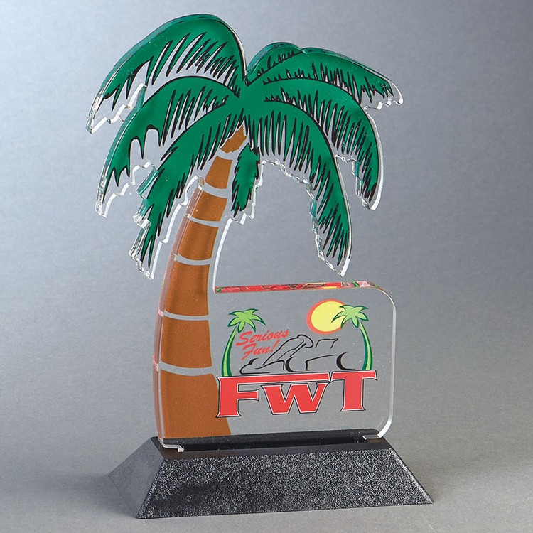 PALM TREE Acrylic Award Snappy up to 24 sq.in. Any Shape Acrylic In A Base