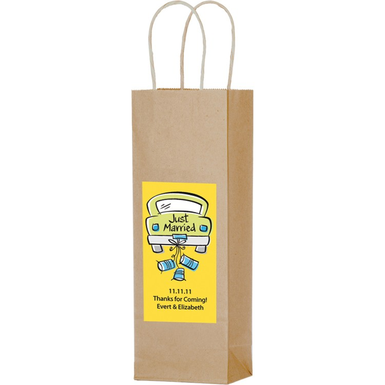 Natural Kraft Paper Shopper with Twisted Paper Handles - Wine/Take-Out Bag