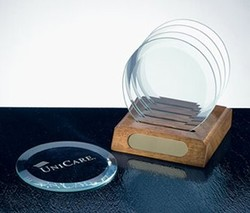 Remembrances Glass Coaster Set. Set of 4 Round Glass Coasters with Wooden Stand