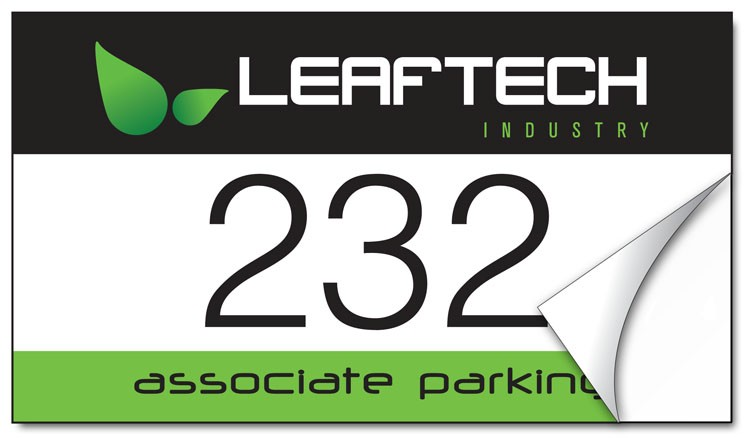 White Vinyl Parking Permit Sticker / Decal - UV-Coated Vinyl - 3.5x2