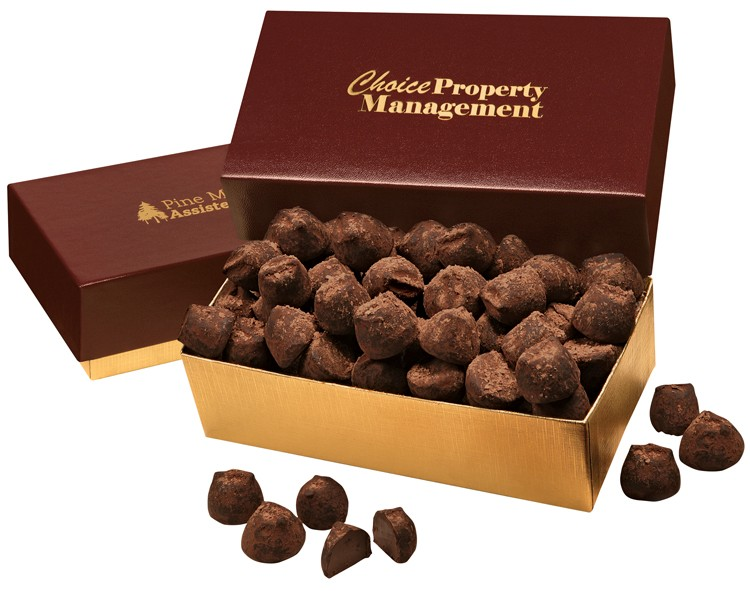 SALE! - Cocoa Dusted Truffles in Burgundy & Gold Gift Box