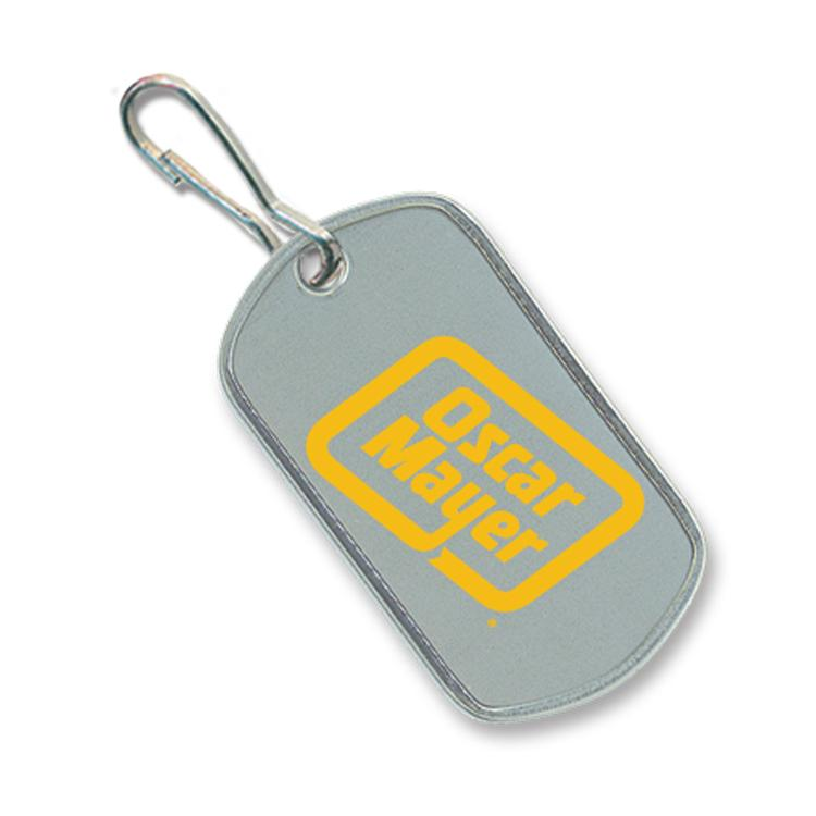Stainless Steel Dog Tag, Single Color Imprint Frontand a Zipper Pull Attachment, Polybagged