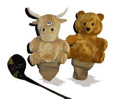 7 Reversible Bull/Bear Golf Club Cover -Tan