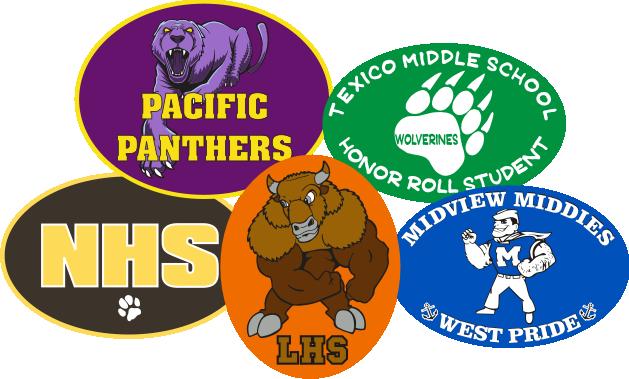 Oval car window stickers schools