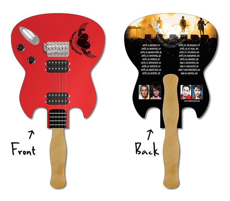 Hand Fan - 6.5x8 Laminated Guitar Shape Laminated - 14 pt.
