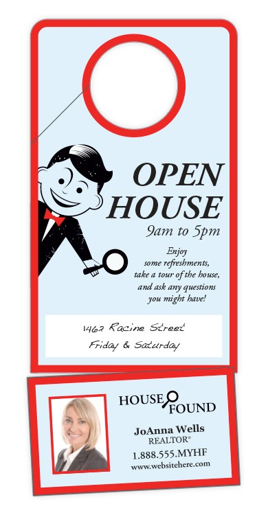 Plastic Door Hanger - 3.5x8 Laminated with Slit and Detachable Business Card - 14 pt.