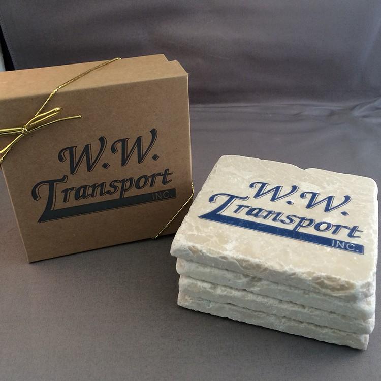 Tumbled Stone Coasters - Boxed Set of 4 Marble