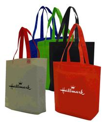 Non-woven polypropylene shopping tote bag with 3.5 gusset on bottom.