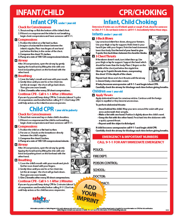 Infant Child Cpr Choking Steps Laminated Card 85x11 Magnets