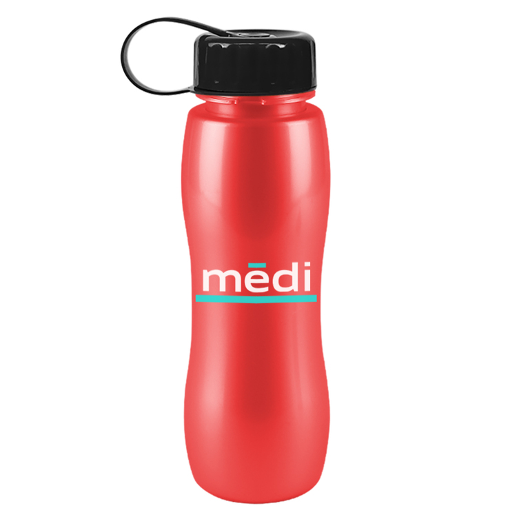 25 Oz Tritan Metalike Slim Grip Sports Bottle With Tethered Lid