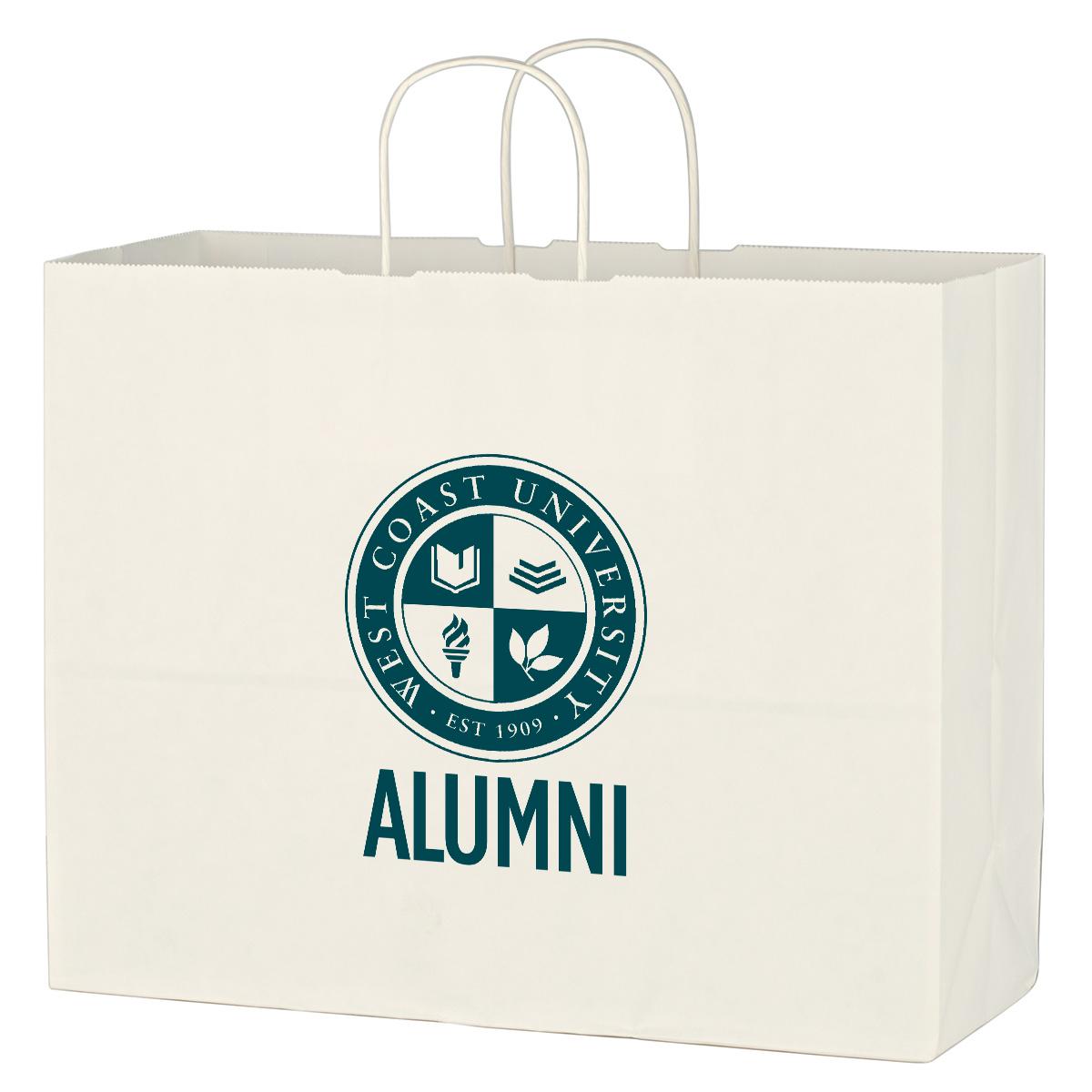 Kraft Paper White Shopping Bag - 16