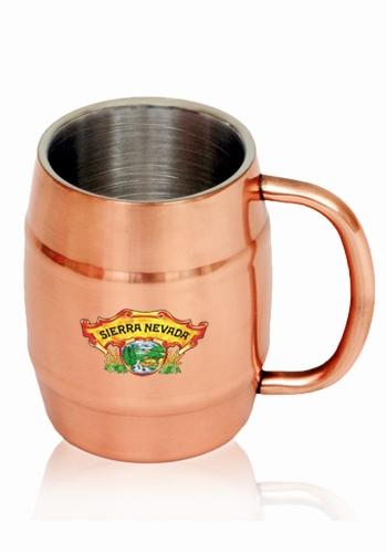14 oz Ankara Copper Coated Stainless Steel Moscow Mule Barrel Mug