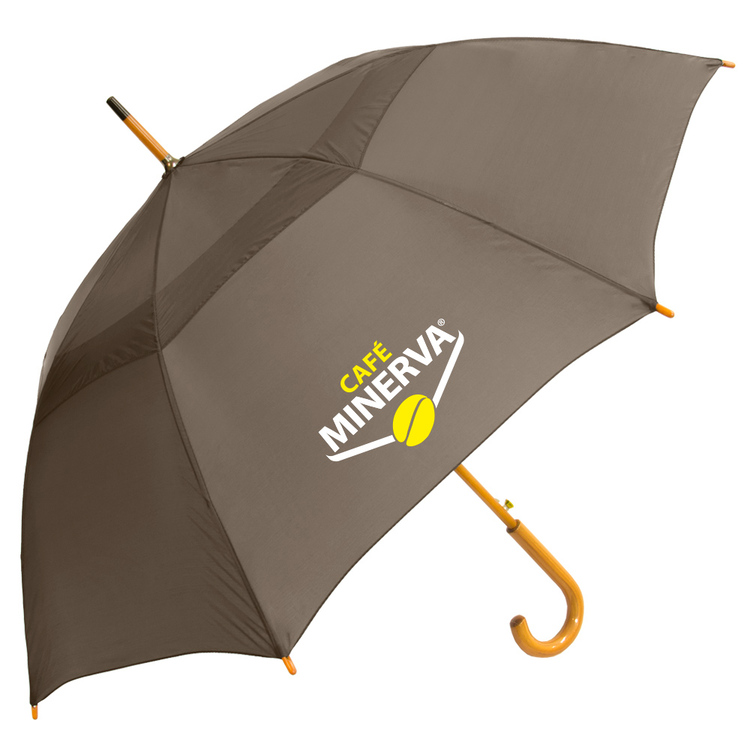 48 Auto Open Umbrella with Vent, Fiberglass Ribs and Curved Wood Handle SALE Until December 31