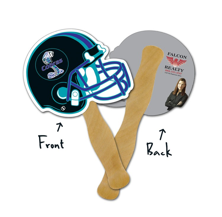 Mini Hand Fan - 5.25x5 Football Helmet Shaped Laminated - 14 pt.