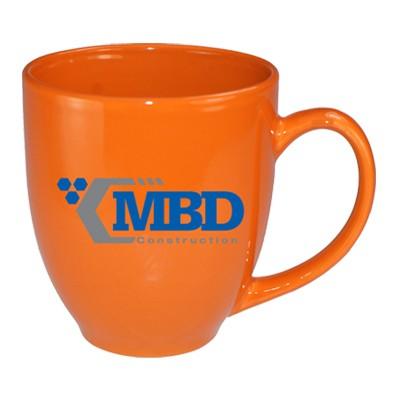 15 oz glossy vitrified bistro coffee mugs -california orange