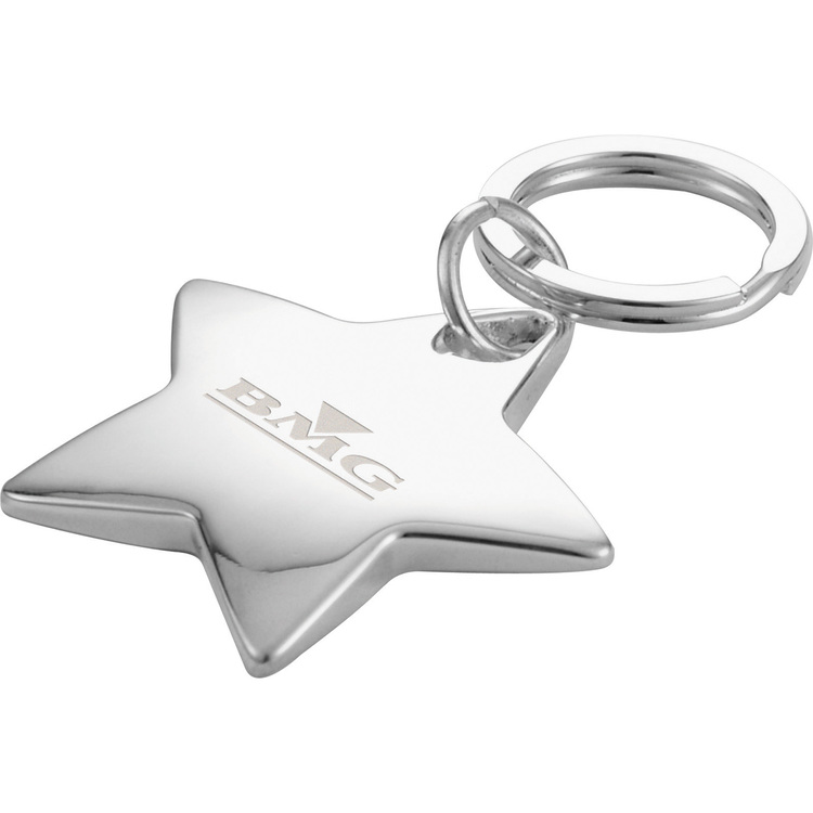 Star Shaped Sterling Silver Key Ring