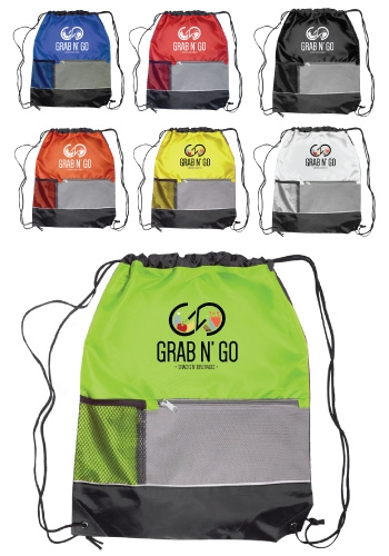 Drawstring Backpack with Front Zippered Pocket