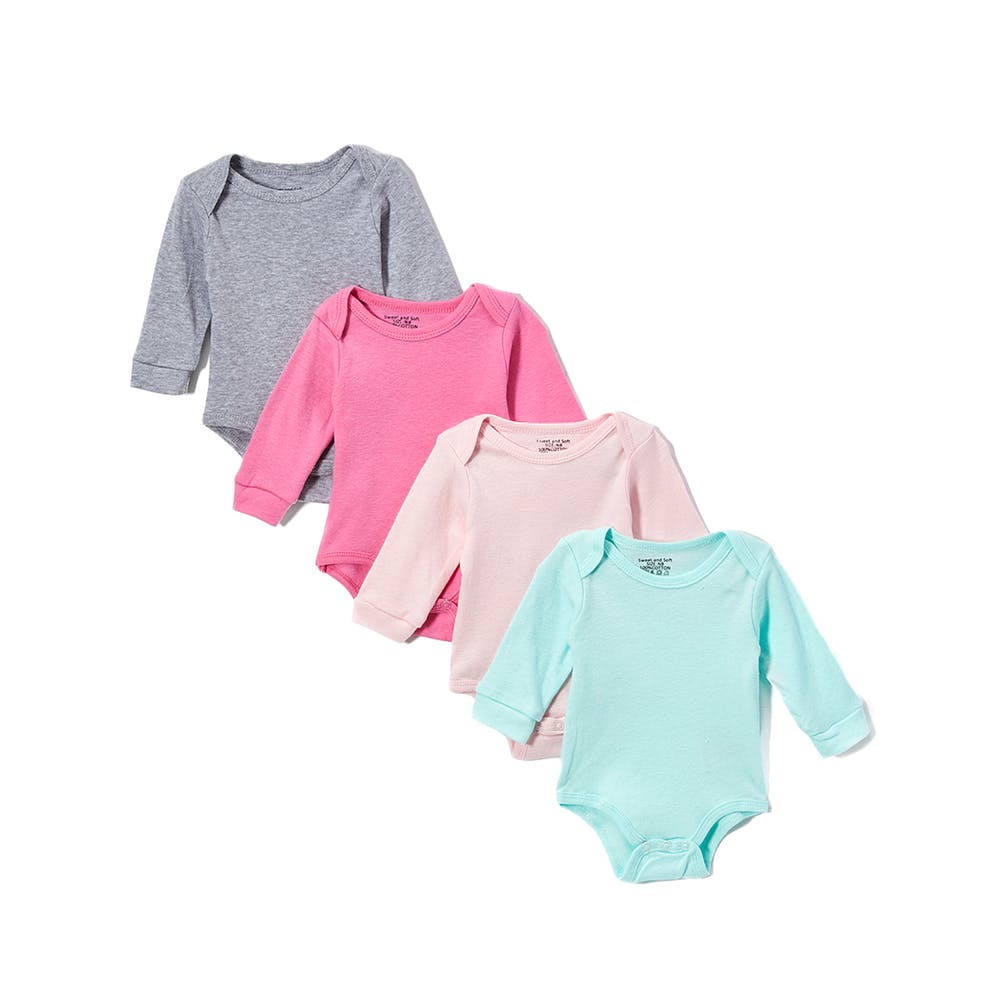 49a049025 Baby Girls 4 Pk Long Sleeve Onesies - Solid 0-12m #2324741 Sweet & Soft