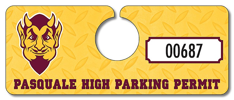 School Plastic Hang Tag / Parking Permit- 2x5 - UV Coated (1S)