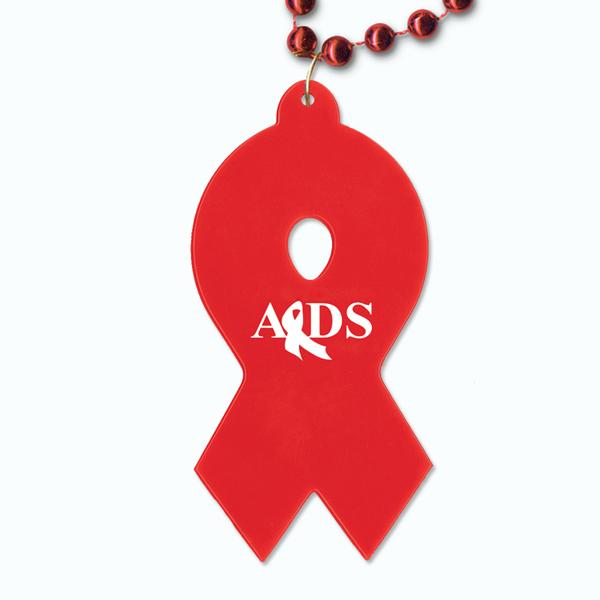Red Beads with Red Awareness Ribbon Medallion