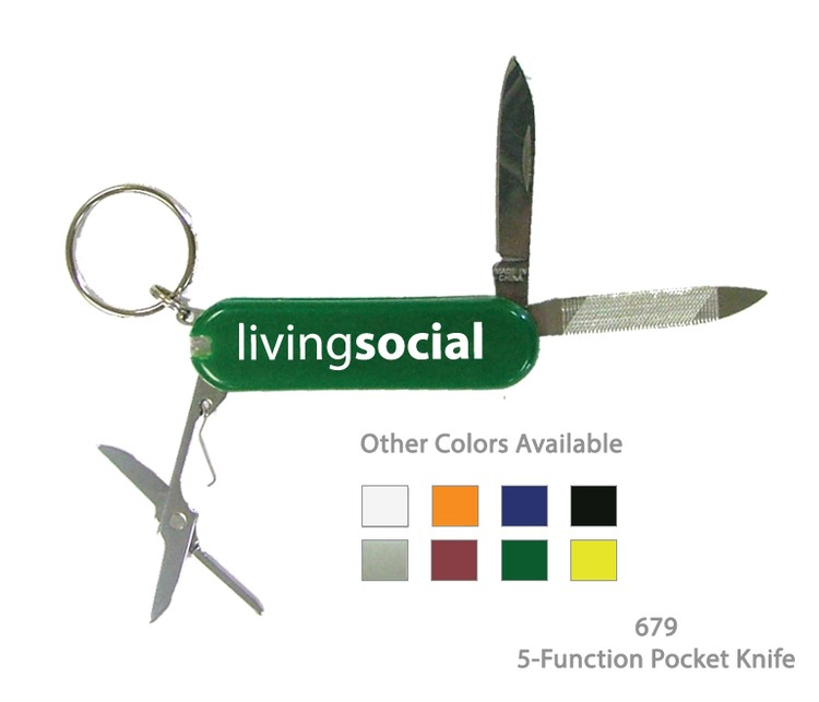 6 Function Pocket Knife Keychail Tool - Green