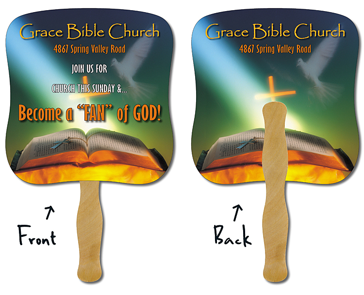 Religious Hand Fan - 7.375x7.75 Laminated - 14 pt.