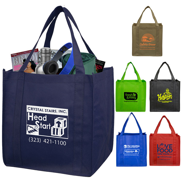 12-1/2 W x 13 H - Mega Grocery Shopping Tote Bag