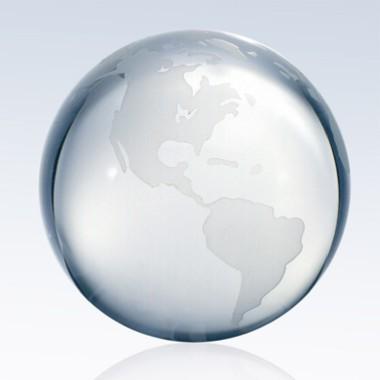 4 Crystal World Globe with Flat Bottom