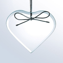 Beveled Clear Glass Christmas Ornament - Heart