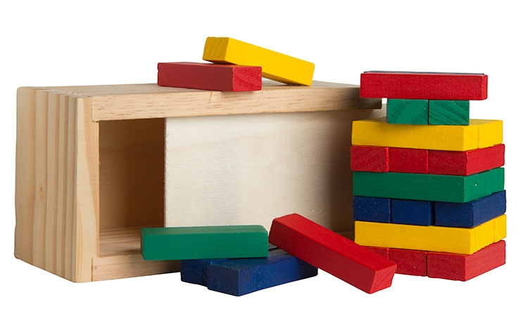 Red Colored Block Wooden Tower Puzzle