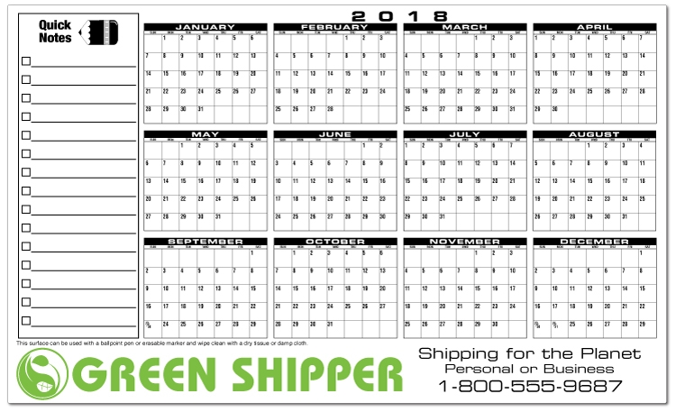 Premium Plastic Write-on/Wipe-off Year-at-a-Glance Wall Calendar - Write-on/Wipe-off Horizontal Wall Calendar