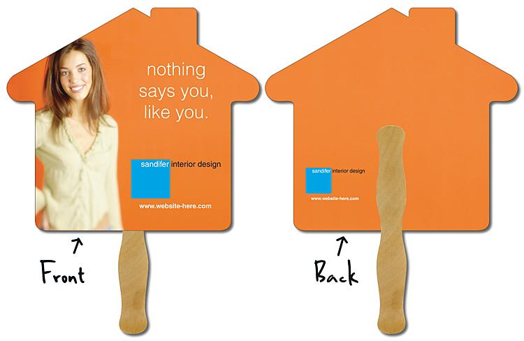Hand Fan - 9.625x8.5 House Shape Laminated - 14 pt.
