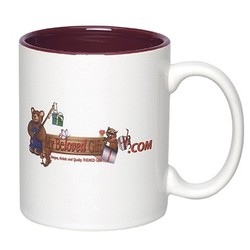 Full Color Photo Sublimated Ceramic Mug 11oz., C Shaped Handle, 2 tone