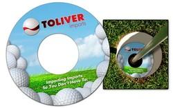 Plastic Golf Cup Ad Ringer - 14 pt UV Inhibiting Laminate - 3.75 Inch Diameter2 sided.