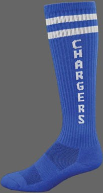 Deluxe KNEE HIGH Socks-lettering or logo w MOISTURE WICKING stripes or no stripes