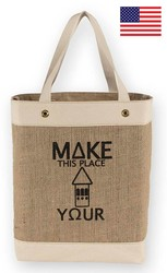 Clarkston Market Tote Canvas/Burlap Tote Bag 18x7x14.5