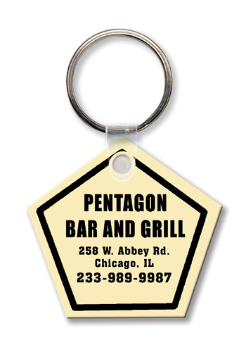 Key Tag - Pentagon - Spot Color - Budget friendly key chain / ring / holder and key accessories for auto, car, house or automotive dea