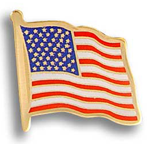 Stock American Flag Etched Lapel Pins