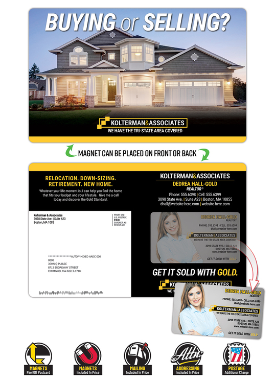 Magna-Peel Postcard (8.5x5.25) - Laminated with Business Card Magnet w/Rounded Crnrs (25 mil- 14 pt.