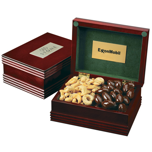 Deluxe Wood Box with Custom Plate & Premium Confections