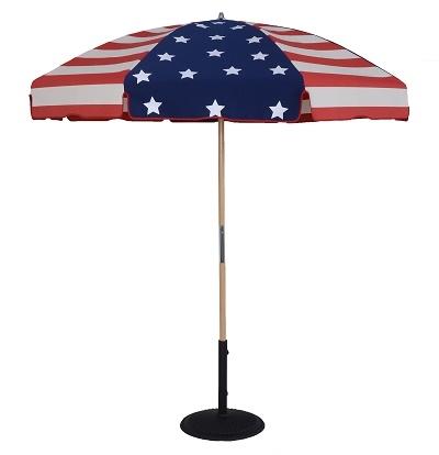 7.5ft x 8panel Patriotic USA Flag Commercial Grade Wood Beach Patio Umbrella, Fiberglass Ribs